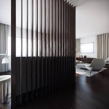 black modern wood slat room divider for livingroom decoration