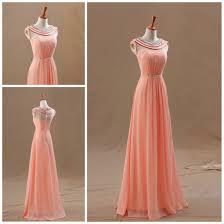 high neck long peach prom dresses for junior with crystal collar