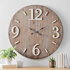 wall clocks hadden wood with white accents wall clock kirklands