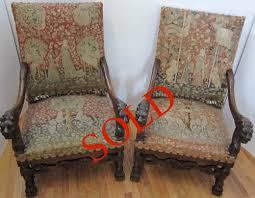 Antique Armchairs Gothic Living Room Suite Unicorn Tapestries Antique Chairs