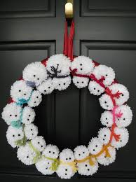 18 pom pom snowman winter wreath by daulhouseshop on etsy