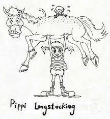 pippi longstocking lifting horse monkey coloring pages