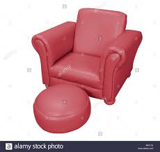 Pink Leather Chair by Red Leather Chair Seat With Foot Stool And White Background Studio