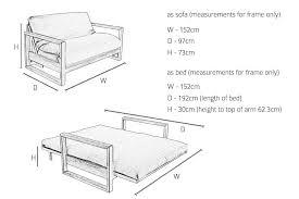 Sofa Bed Dimensions 2 Seater Oak Wood Sofa Bed Futon Company