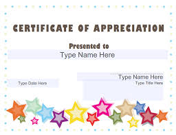 sample text for certificate of appreciation certificate appreciation templates sampleprintable template free
