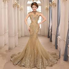evening gown gorgeous high neck appliques backless gold mermaid evening gown