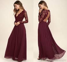 wedding dress maroon 2017 burgundy chiffon bridesmaid dresses sleeves western