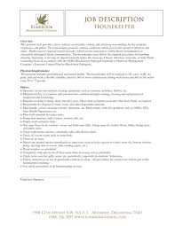housekeeping job description for resume resume examples 2017