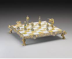 medieval gold and silver themed chess set large