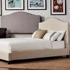 Linen Upholstered King Headboard Blanchard Nailheads Camelback Linen Upholstered King Size