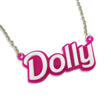Acrylic Name Necklace Dolly Name Necklace Double Layered Dolly Name Necklace Double