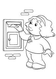sarah put letter mailbox postman pat coloring pages sarah