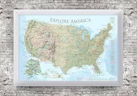 map usa framed usa national parks map lite terrain edition framed canvas map