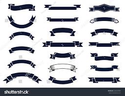 large ribbon large set blank classic vintage ribbon stock vector 236554009