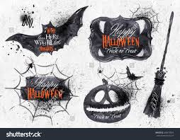 halloween set drawn halloween symbols pumpkin stock vector
