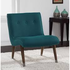 Baxton Studio Nottingham Cream Faux Mid Century Blue Teal Armless Chair Linen Teal Fabric Mid