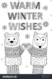warm winter wishes best friends coloring stock vector 477769810