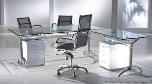Metal L Shaped Desk Office Modern Office Furniture With Glass Office Desk And Storage