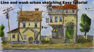 line and wash urban sketching easy tutorial by nil rocha youtube