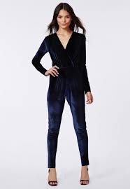 blue velvet jumpsuit lyst missguided liz luxe velvet wrap jumpsuit navy in blue