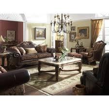 Leather And Fabric Living Room Sets Michael Amini Tuscano Leather Fabric High Back Sofa Living Room