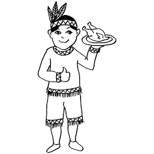 Indian Thanksgiving Printable Thanksgiving Indian Boy Coloring Page For Kids