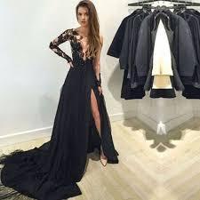 black graduation lace applique prom night dress long sleeves