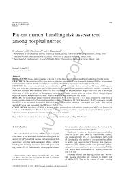 patient manual handling risk assessment among hospital nurses pdf