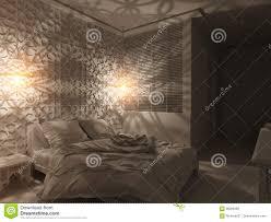 3d render bedroom islamic style interior design stock illustration