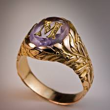 gold monogram ring vintage amethyst monogrammed mens ring antique jewelry vintage