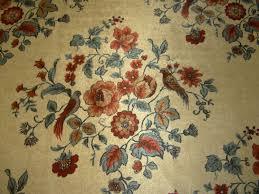 Retro Upholstery Retro Upholstery Fabric Cut Velvet Floral Bird Design Blue Rust