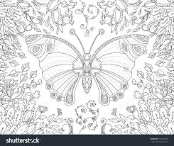 coloring book page butterfly flowers stock vector 442232782