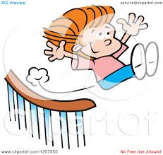 Sliding Down Banister Cartoon Of A Happy Sliding Down And Flying Off A Banister