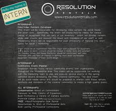 Resume Builder For Internships 2016 Resolution Rentals Internship Resolution Rentals