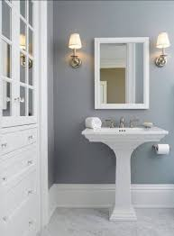 white trim sink mirror and cabinetry gray owl paint by benjamin