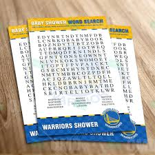 sports invites golden state warriors u2013 word search baby shower game
