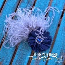 doodlecraft tardis blue shabby chic bow