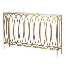 Gold Console Table Gold Shallow Oval Hoops Console Table