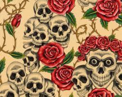 skull roses fabric etsy