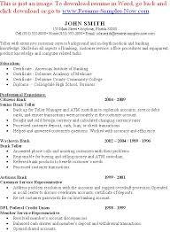 Sample Resume For Teller Position by Teller Resume Example