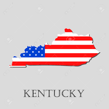 Map Of Kentucky State by Map Of The State Of Kentucky And American Flag Illustration