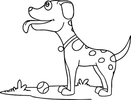 curious dog with tennis ball coloring page wecoloringpage