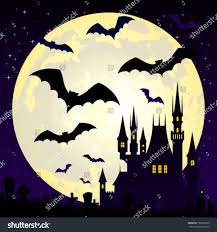 halloween illustration castle bats on full stock vector 156565820