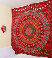 online get cheap peacock tapestry aliexpress com alibaba group cilected red peacock mandala tapestry home decor wall hanging indian beach throw blanket rectangle boho beach