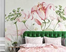 spring floral wallpaper art bedroom living room retro apricot