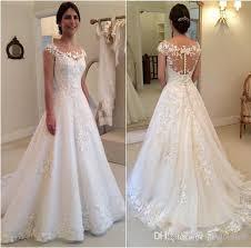 simple wedding dresses uk 2016 vintage new lace appliques wedding dresses a line sheer