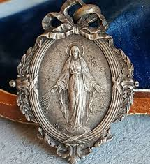 religious jewelry vintage blessed medal nouveau catholic