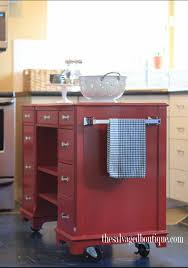 Diy Kitchen Island On Wheels by An Old Desk Becomes A Sleek Kitchen Island Upcycle Recycle
