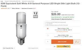 green deals 12 pack ge a19 60w bright stik slim led light bulbs
