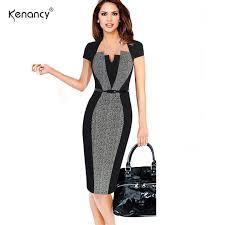 optical illusion dress kenancy 2xl color block belted patchwork pencil dress women party